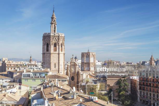 looking over the rooftops of the historic centre of valencia. - valencia stock photos and pictures