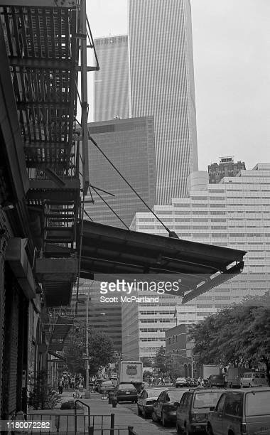 Looking south along Greenwich Street towards Reade Street New York New York July 2 1997 The North and South Towers of the World Trade Center are...