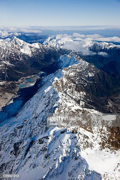 Looking south along Hooker Glacier and Copeland Pass, Southern Alps, South Island, New Zealand