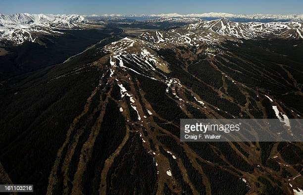 Looking south Copper Mountain Ski Area and Tucker Mountain viewed during a flyover of the Hidden Gems Wilderness Areas in Eagle and Summit County CO...