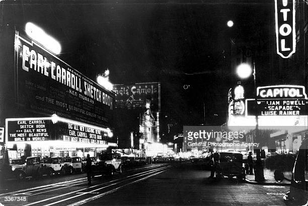 Looking south from 50th street at night on Broadway in the borough of Manhattan New York