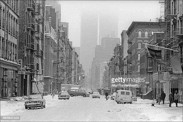 Looking south on West Broadway from above Prince St after a snowstorm New York New York January 14 1974 The barrier marked where a section of the...