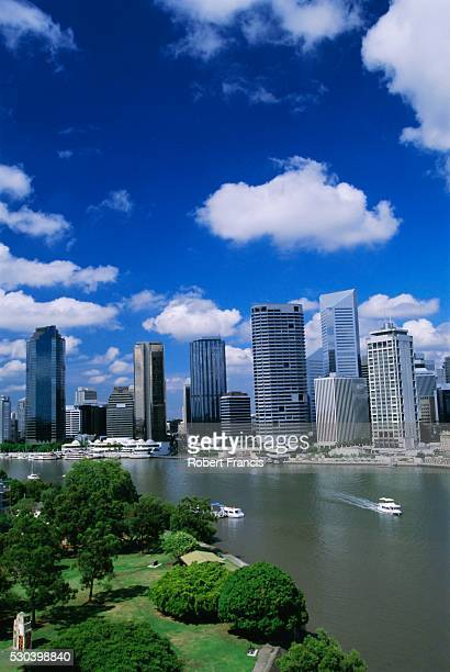 Looking southwest over Captain John Burke Park on Kangaroo Point by the Brisbane River, towards the centre of Brisbane, Queensland, Australia