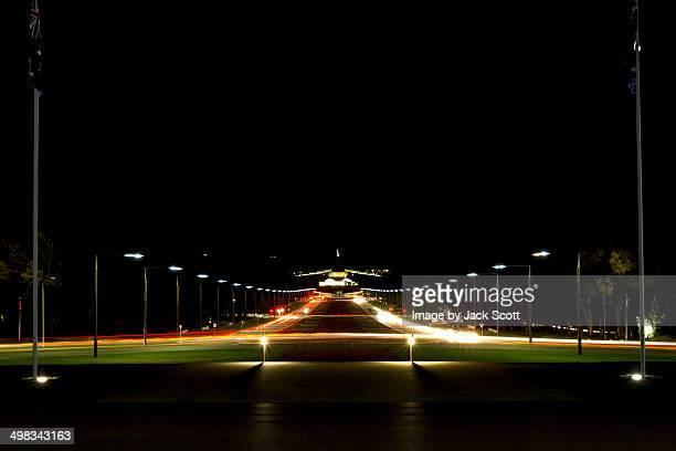 Looking straight down Anzac Parade at night