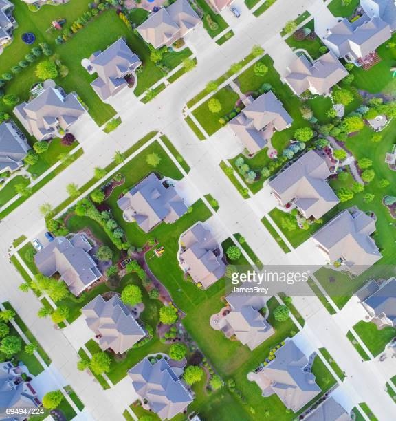 Looking straight down on beautiful neighborhoods in Springtime