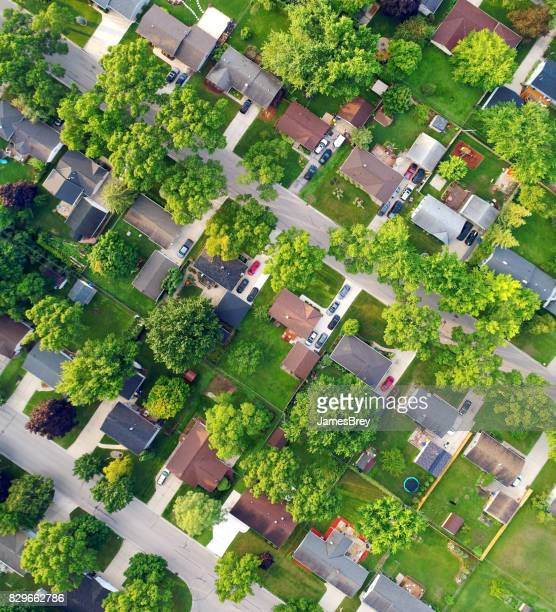 Looking straight down on nice Neighborhood on Summer morning.