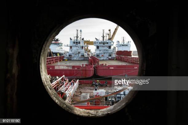 Looking through a porthole on the Lismore in Leith's Imperial Dry Dock as Scottish Government announce the second round of funding for the...