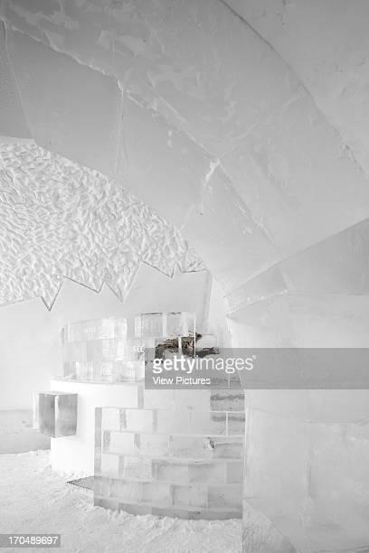 Looking through archway towards DJ booth in Absolut Icebar Jukkasjarvi, Icehotel, Hotel, Europe, Sweden Ake Larsson .