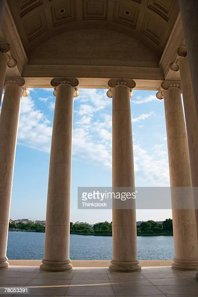 Looking through columns of the Jefferson Memorial toward Potomac River tidal basin, Washington, DC