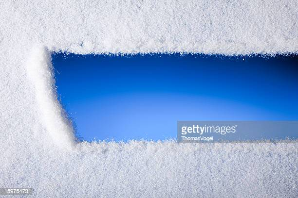 Blick durchs gefrorene Fenster