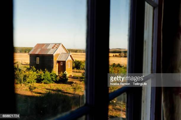 Looking through the window: a small church in a farm, Victoria. Australia