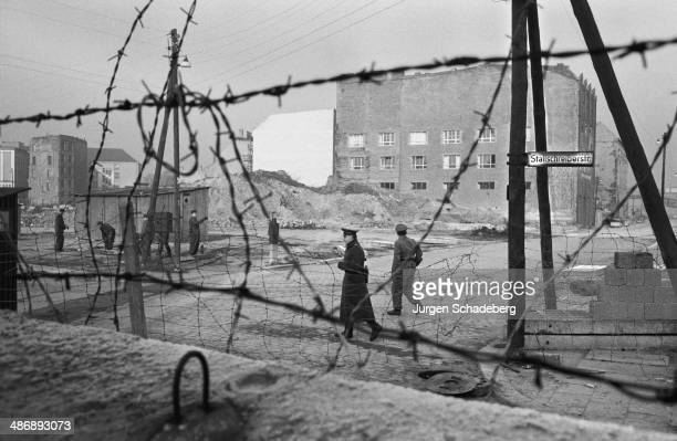 Looking through the wire from the West to East Berlin on Stallschreiberstrasse Berlin 1961