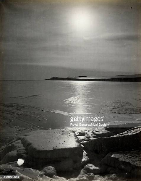 Looking to Cape Barne from Cape Evans mirage effect Antarctica 3rd March 1911 British Antarctic Expedition 19101913