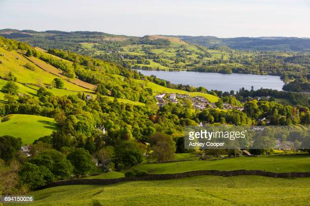Looking towards Ambleside and Lake Windermere from Red Screes in the Lake District, UK.