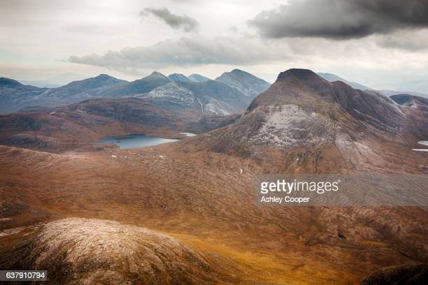 looking towards maol chean dearg from beinn damh in torridon, scotland, uk. - wester ross stock pictures, royalty-free photos & images