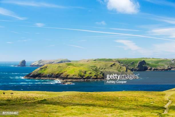 Looking towards Skomer Island from Wooltack Point, Pembrokeshire, Wales, UK.