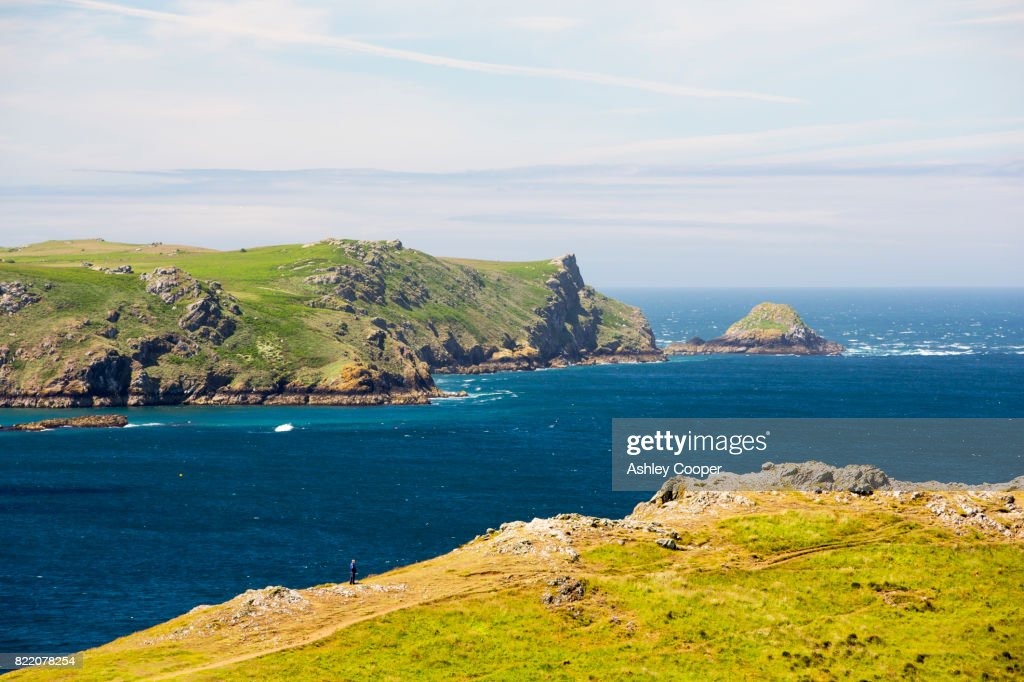 Looking towards Skomer Island from Wooltack Point, Pembrokeshire, Wales, UK. : Stock Photo