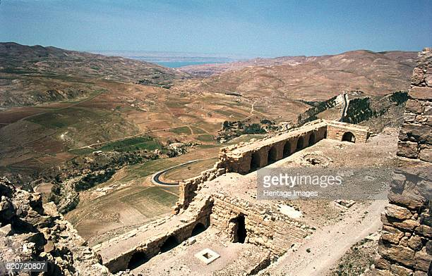Looking towards the Dead Sea from the castle of Kerak Jordan Not to be confused with Krak des Chevaliers in Syria the Crusader castle of Kerak was...