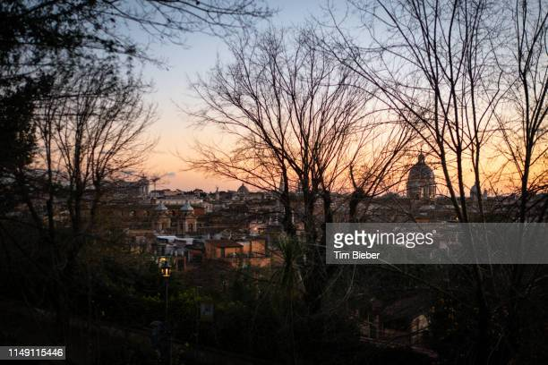 looking towards the dome of san carlo al corso - piazza san carlo stock pictures, royalty-free photos & images