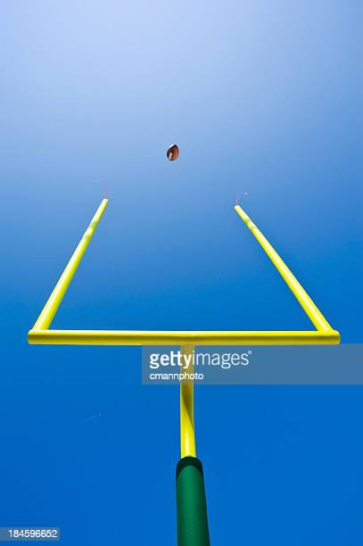 looking up at a field goal - american football - end zone stock pictures, royalty-free photos & images