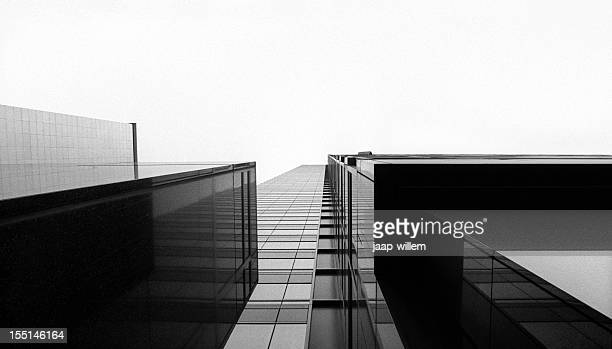 looking up at a glass skyscraper - black and white stock pictures, royalty-free photos & images