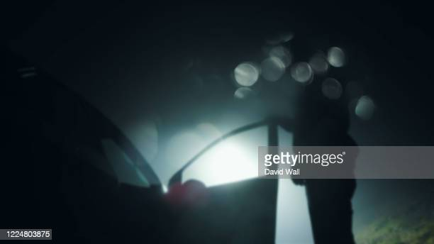 looking up at a mysterious figure, standing next to a car with the door open, underneath a street light at night. with a blurred, bokeh edit - car stock pictures, royalty-free photos & images