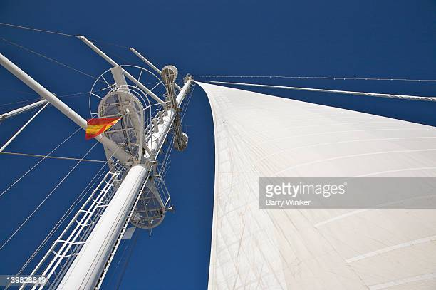 Looking up at Crow's Nest, lookout platform near top of mast, and sail aboard Wind Spirit of Windstar Cruises