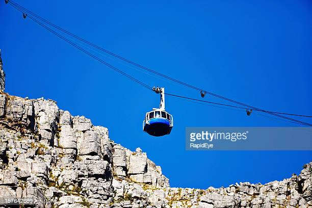 Looking up at modern cable car ascending Table Mountain