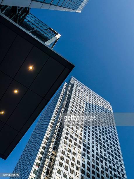 Looking up at Modern office blocks at dawn
