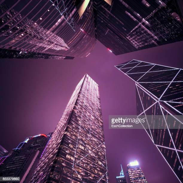 Looking up at modern office buildings in Hong Kong