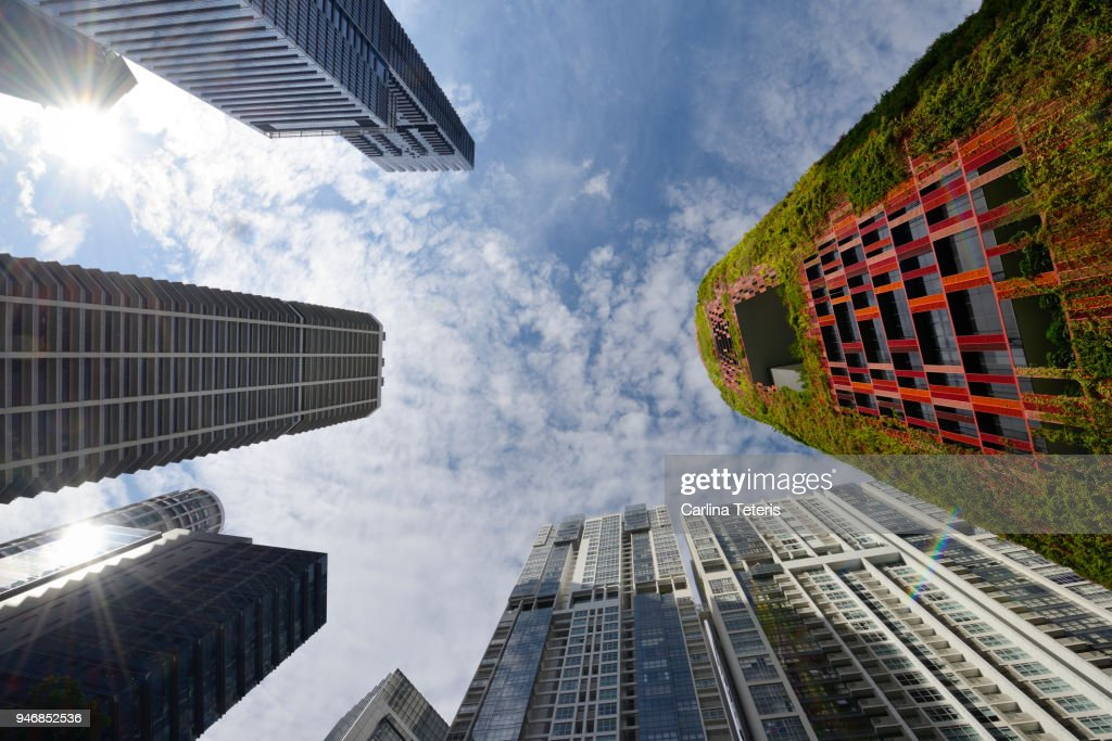 Looking up at office towers in Singapore's Tanjong Pagar : Stock Photo