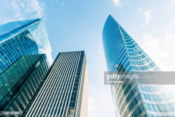 looking up at paris office buildings - stock photo - finance and economy stock pictures, royalty-free photos & images