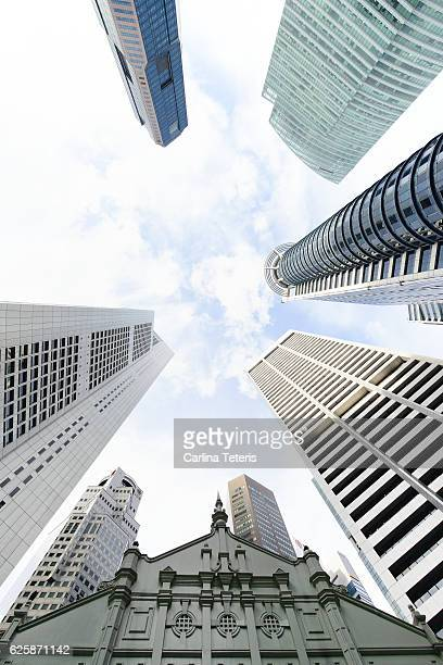 Looking up at Raffles Place business towers