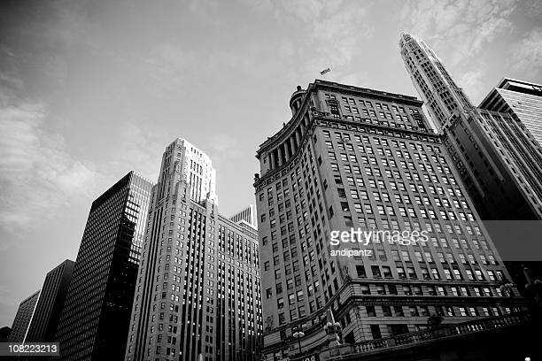 Looking Up at Skyline of Chicago Buildings, Black and White