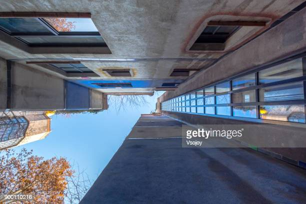 looking up at the ground of the hunderwasser house, vienna,  austria - vsojoy stock pictures, royalty-free photos & images