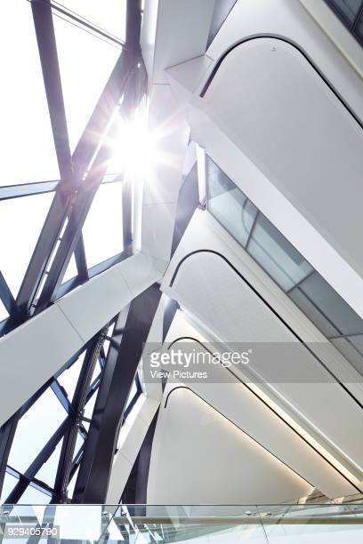 Looking up at the internal structure and floors of The Gherkin with the sun shining in Office Space at The Gherkin London United Kingdom Architect...
