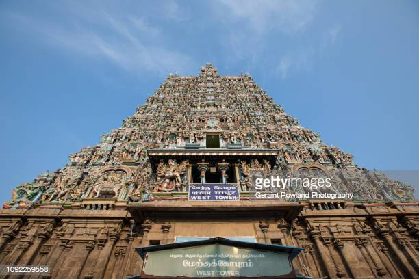 Looking up at the majestic temples of Madurai, India