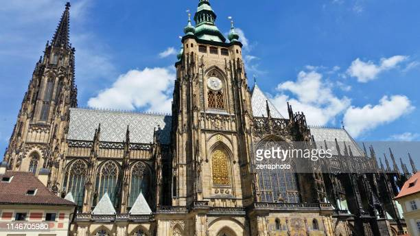 looking up at the st. vitus cathedral in prague - hradcany castle stock pictures, royalty-free photos & images