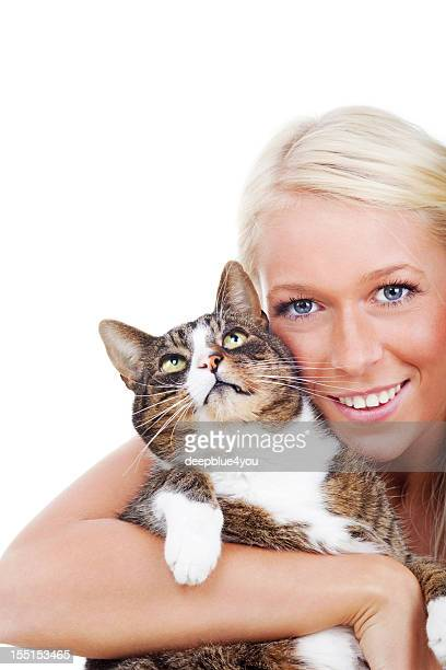 Looking up cat in on woman arm on white
