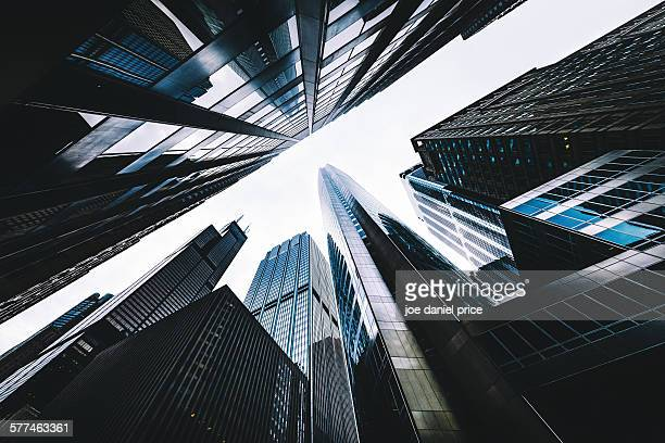looking up, chicago, illinois, america - willis tower stock photos and pictures