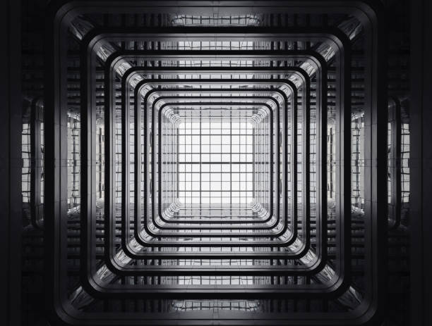 looking up from the patio of a public apartment building. - 對稱 個照片及圖片檔