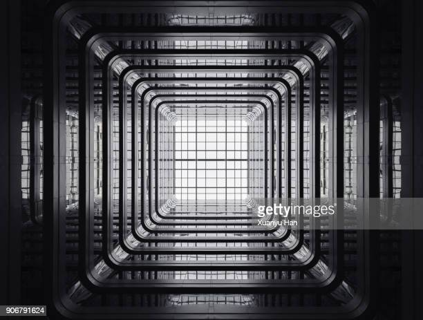 looking up from the patio of a public apartment building. - city photos stock pictures, royalty-free photos & images