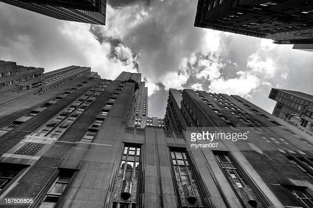 looking up in new york city - gotham stock photos and pictures