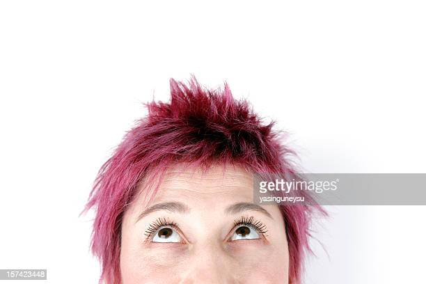 looking up - purple hair stock pictures, royalty-free photos & images