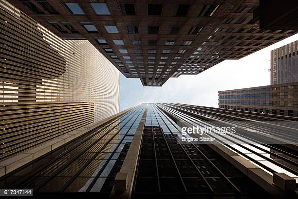 looking up - broadway manhattan stock photos and pictures