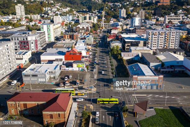 Looking up State Highway 1 intersecting with Taranaki Street on April 29 2020 in Wellington New Zealand New Zealand's lockdown measures were eased...