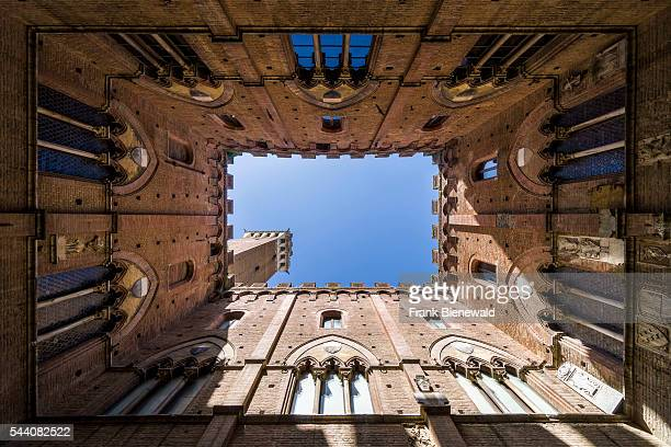 Looking up to the Torre del Mangia from inside the Palazzo Pubblico