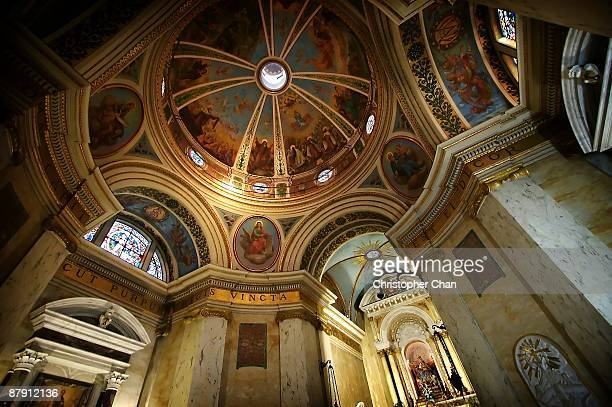 looking up towards a vaulted painted ceiling - haifa stock pictures, royalty-free photos & images
