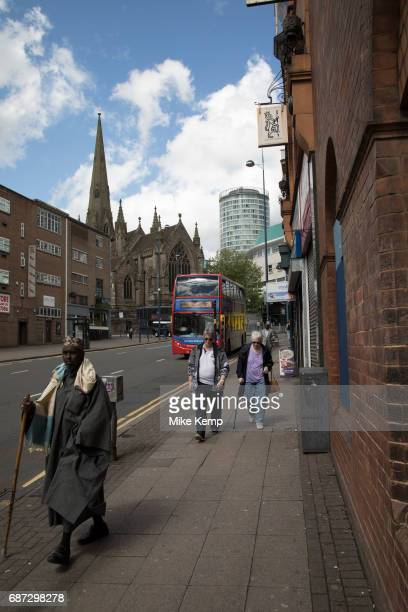 Looking up towards the Rotunda from Digbeth Birmingham England United Kingdom Digbeth is an area of Central Birmingham England Following the...