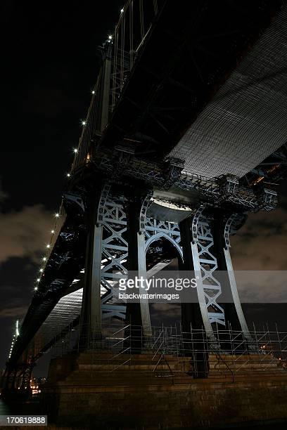 Looking Up Under Manhattan Bridge at Night